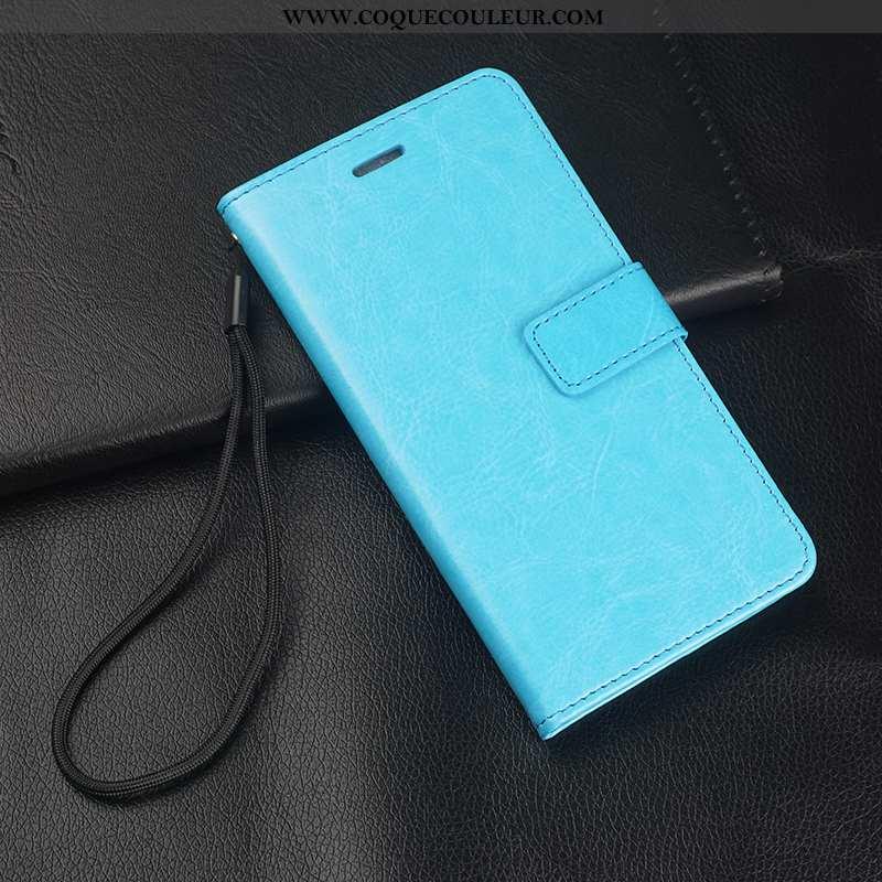 Housse Oppo A5 Cuir Coque Membrane, Étui Oppo A5 Fluide Doux Tempérer Bleu