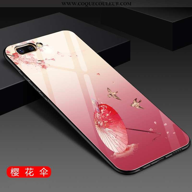 Étui Oppo A5 Protection Téléphone Portable Net Rouge, Coque Oppo A5 Verre Rose