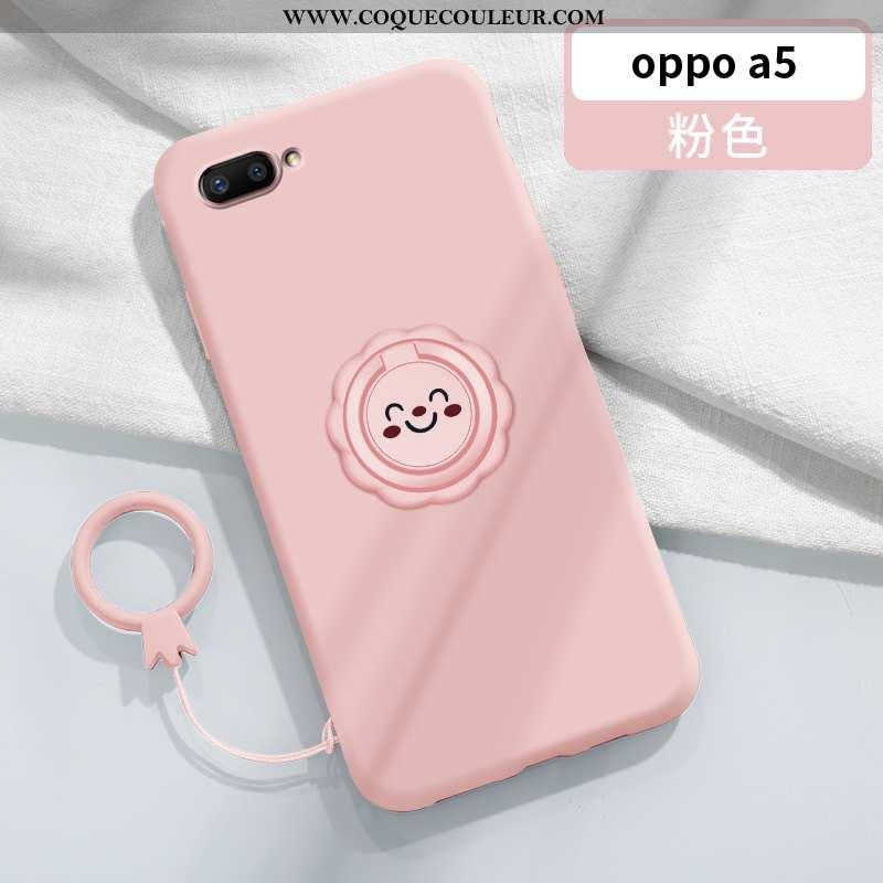 Étui Oppo A5 Tendance Net Rouge Support, Coque Oppo A5 Légère Magnétisme Rose