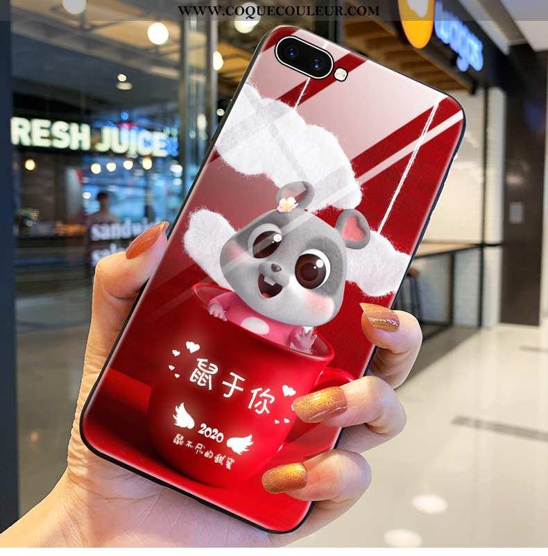 Coque Oppo A5 Verre Téléphone Portable Incassable, Housse Oppo A5 Rouge