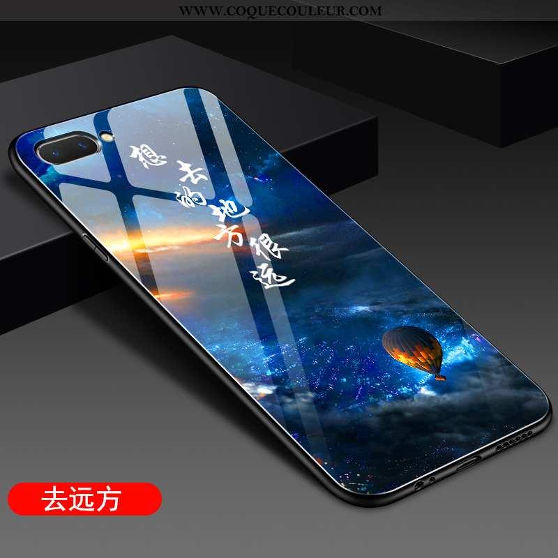 Étui Oppo A5 Protection Net Rouge Miroir, Coque Oppo A5 Verre Téléphone Portable Bleu