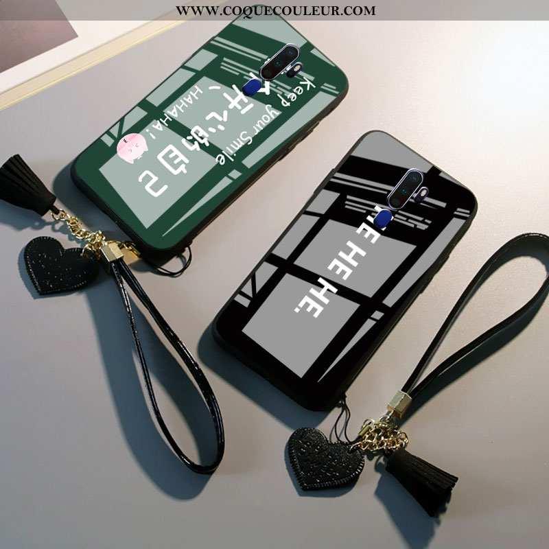 Coque Oppo A9 2020 Verre Étui Tout Compris, Housse Oppo A9 2020 Personnalité Téléphone Portable Noir