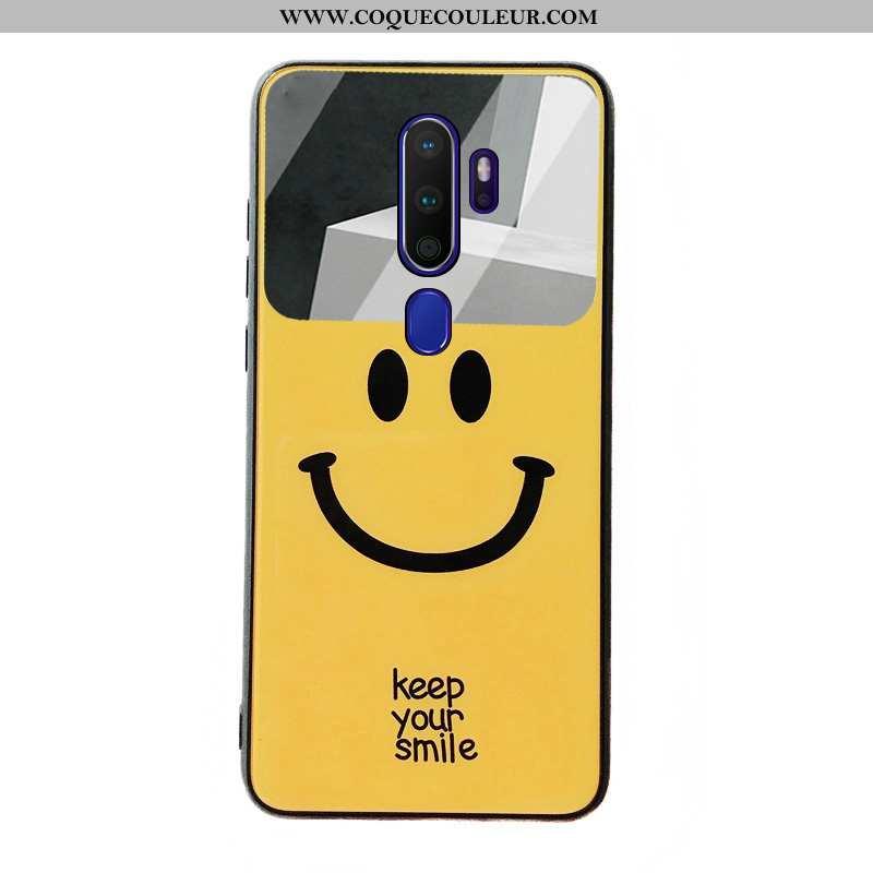 Étui Oppo A9 2020 Dessin Animé Souriant, Coque Oppo A9 2020 Fluide Doux Téléphone Portable Jaune