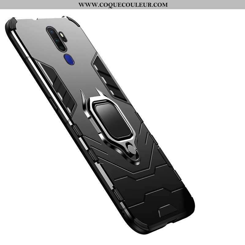 Étui Oppo A9 2020 Protection Support Coque, Coque Oppo A9 2020 Couleur Unie Téléphone Portable Noir