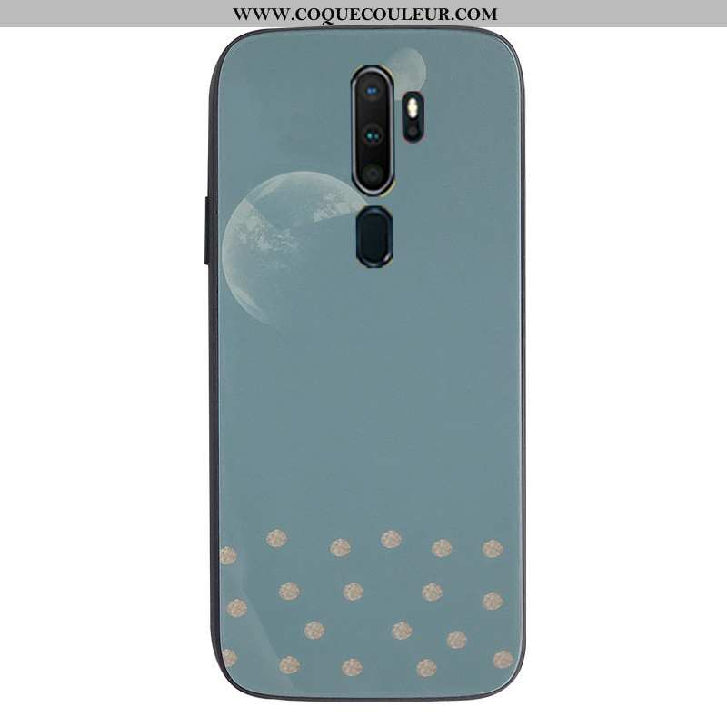 Coque Oppo A9 2020 Protection Tendance, Housse Oppo A9 2020 Verre Téléphone Portable Bleu