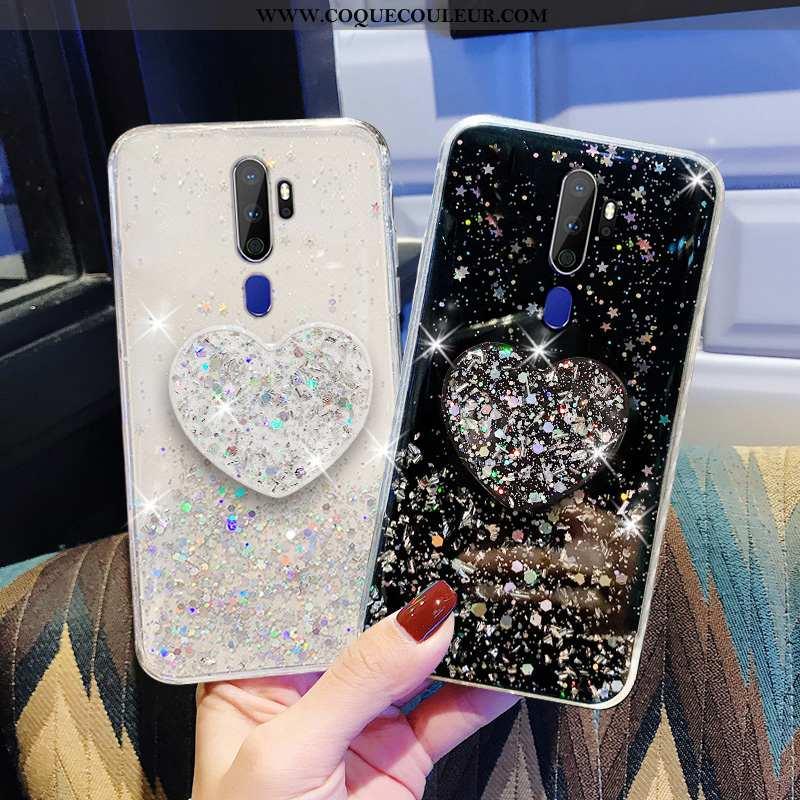 Housse Oppo A9 2020 Légère Tout Compris Téléphone Portable, Étui Oppo A9 2020 Transparent Noir