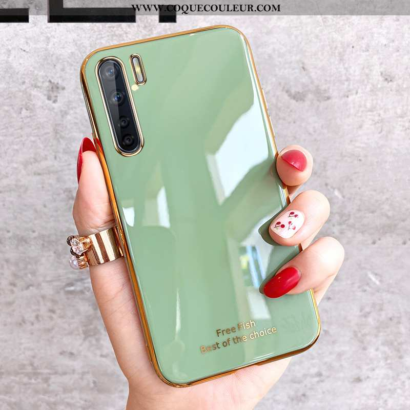 Coque Oppo A91 Fluide Doux Charmant Protection, Housse Oppo A91 Silicone Incassable Verte