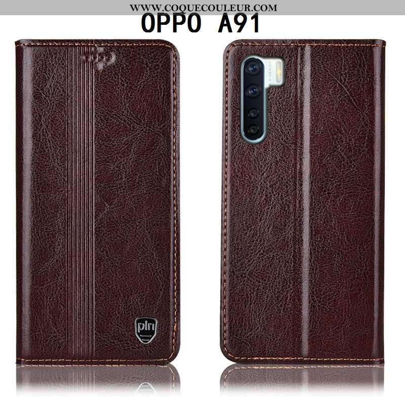 Coque Oppo A91 Protection Étui, Housse Oppo A91 Cuir Véritable Incassable Marron