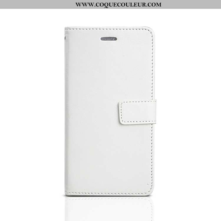 Coque Oppo A91 Protection Blanc, Housse Oppo A91 Cuir Simple Blanche