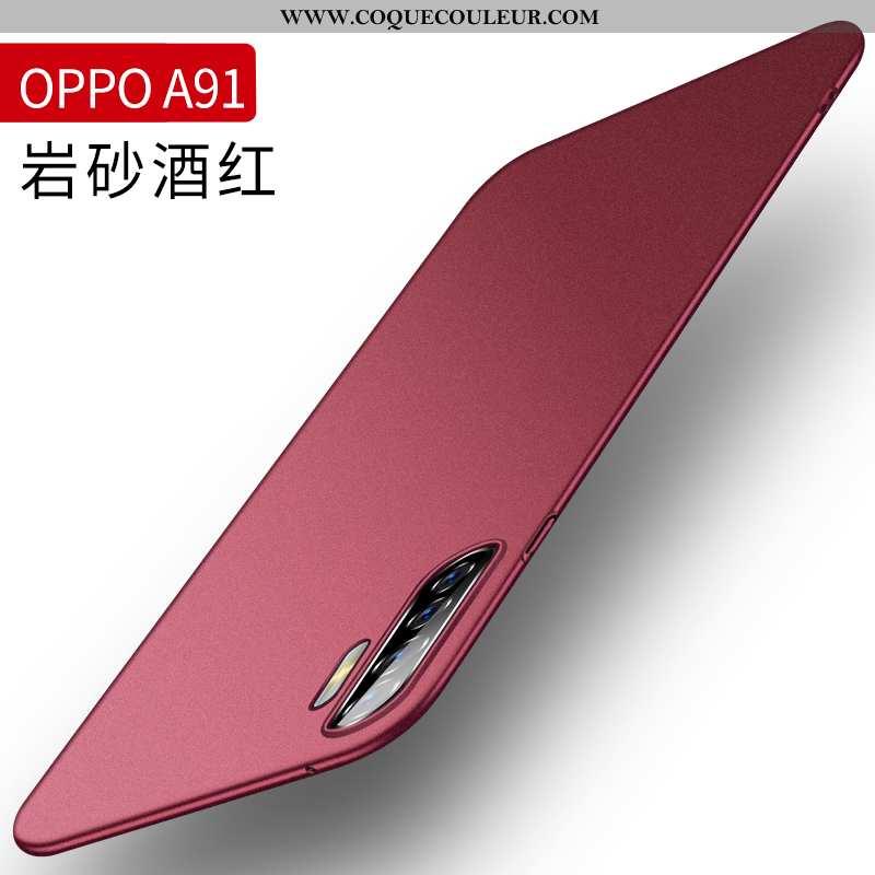 Étui Oppo A91 Silicone Rouge Difficile, Coque Oppo A91 Protection Magnétisme