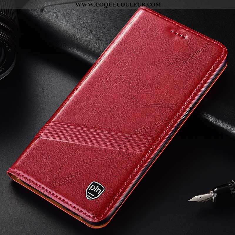 Coque Oppo A91 Cuir Véritable Housse Téléphone Portable, Oppo A91 Protection Étui Rouge