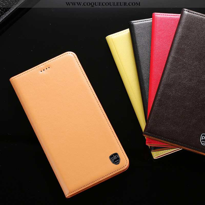 Housse Oppo A91 Cuir Véritable Étui Téléphone Portable, Oppo A91 Protection Jaune