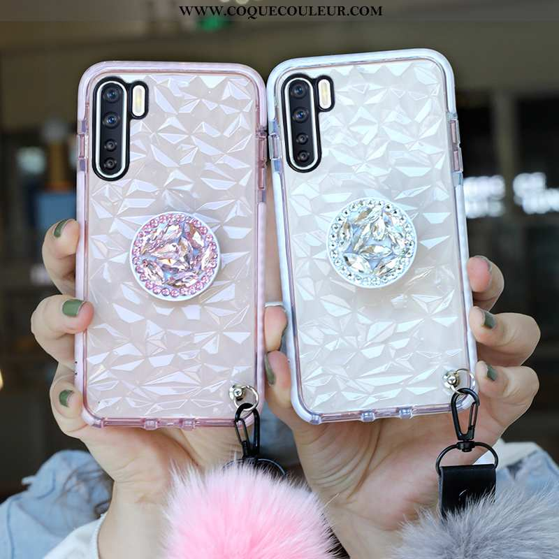 Coque Oppo A91 Ornements Suspendus Strass Incassable, Housse Oppo A91 Tendance Rose