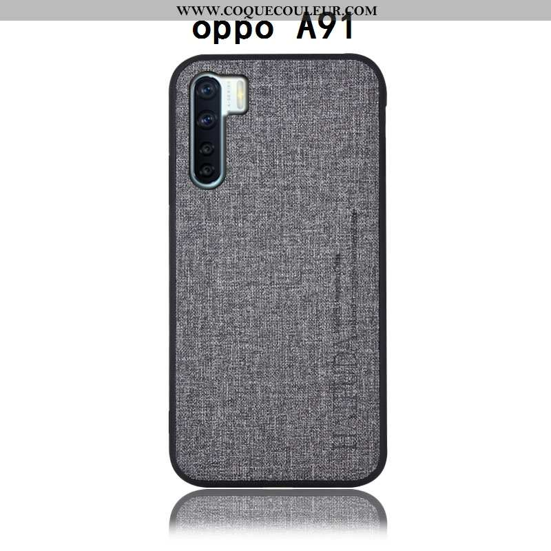 Coque Oppo A91 Protection Incassable, Housse Oppo A91 Cuir Lin Gris