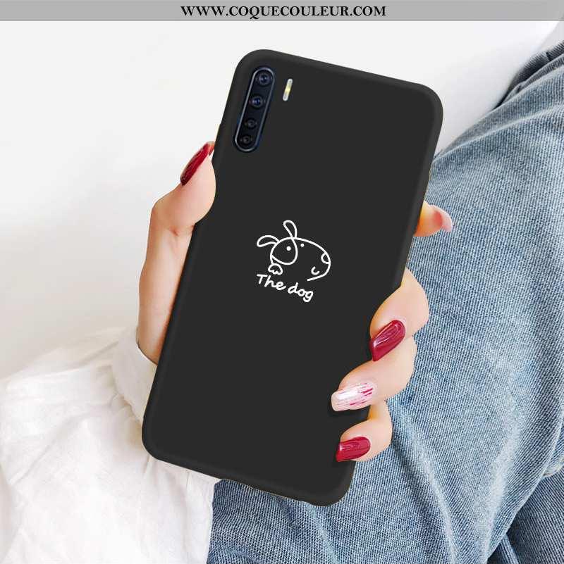 Housse Oppo A91 Fluide Doux Simple Amoureux, Étui Oppo A91 Silicone Tout Compris Noir