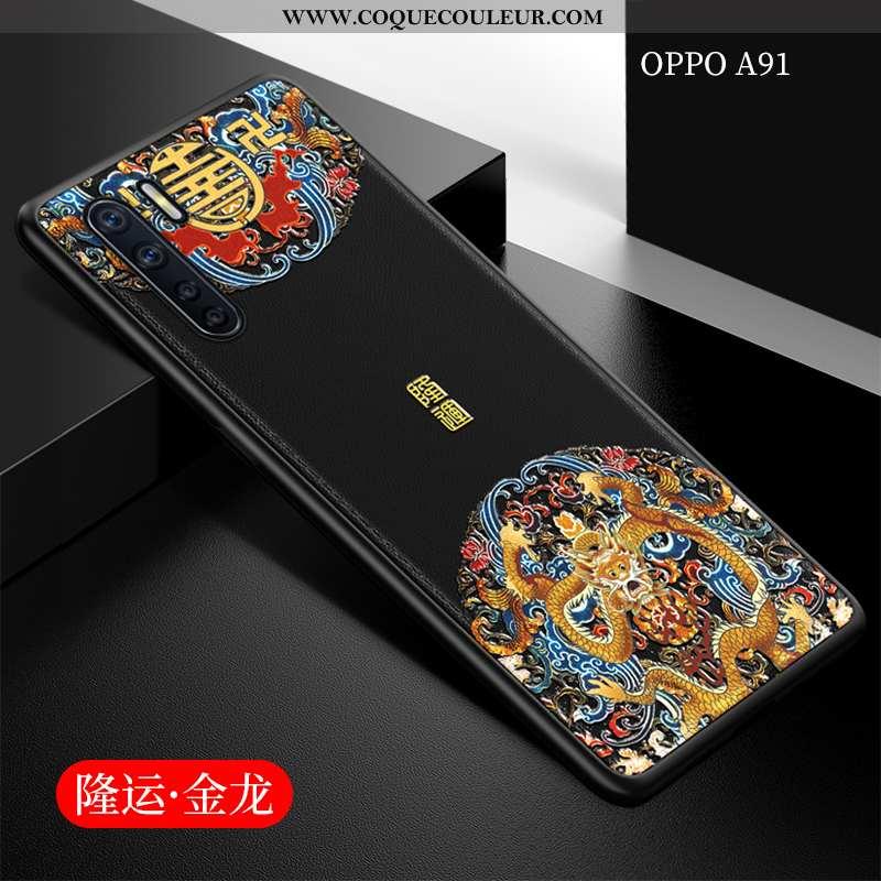 Housse Oppo A91 Légère Ultra Téléphone Portable, Étui Oppo A91 Fluide Doux Noir