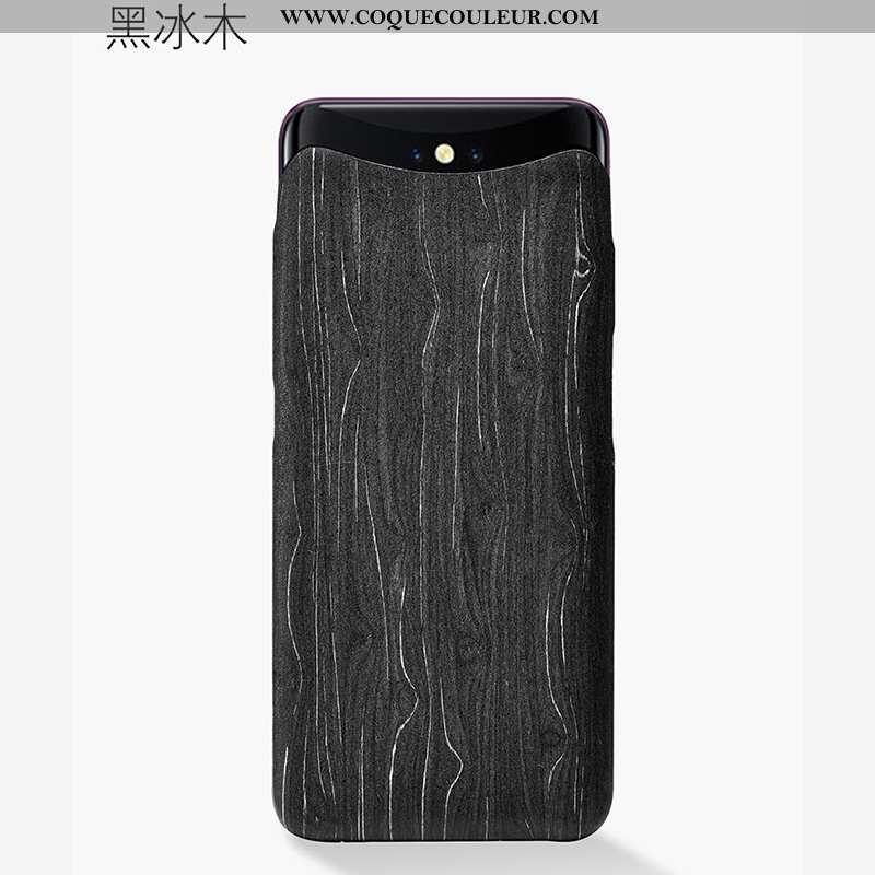 Coque Oppo Find X Créatif Protection, Housse Oppo Find X En Bois Téléphone Portable Noir