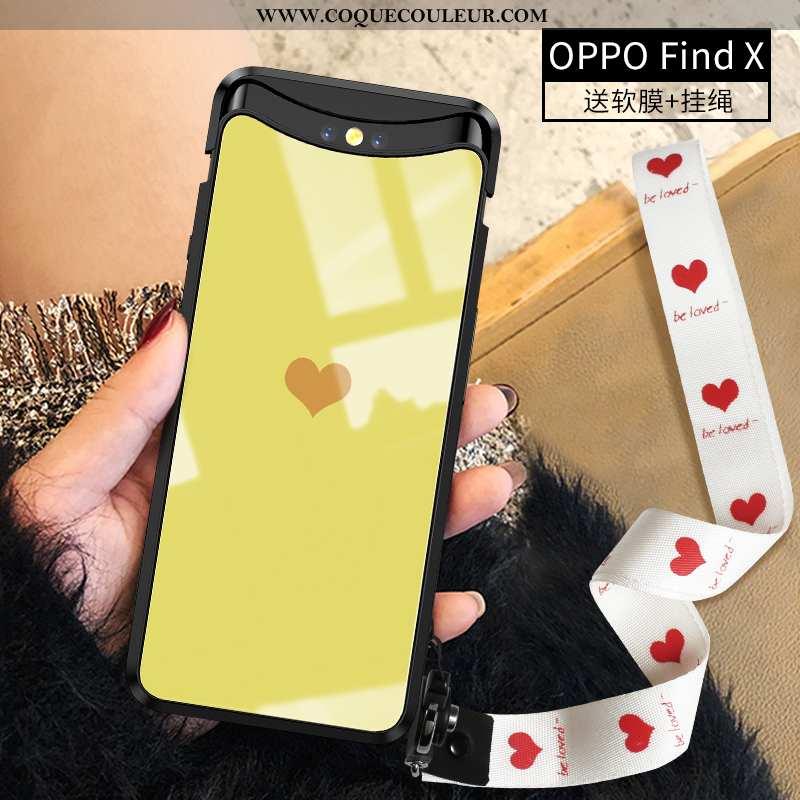 Housse Oppo Find X Protection Tout Compris Amour, Étui Oppo Find X Verre Personnalité Jaune