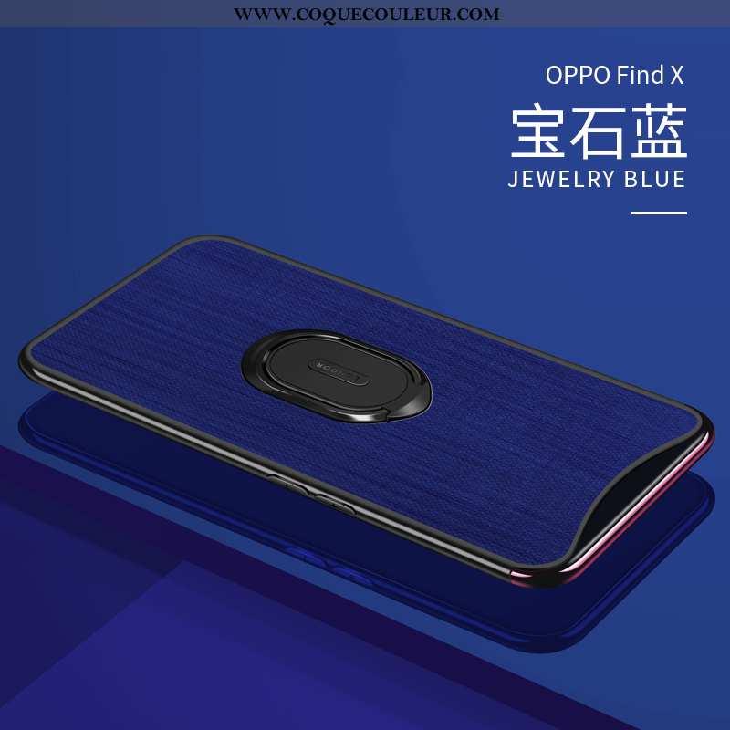 Étui Oppo Find X Ultra Bleu Marin Anneau, Coque Oppo Find X Légère Protection Bleu Foncé