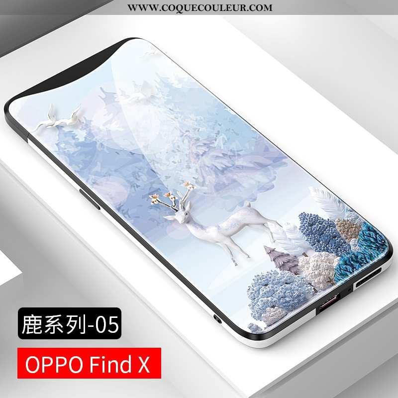 Étui Oppo Find X Créatif Verre, Coque Oppo Find X Ultra Nouveau Bleu