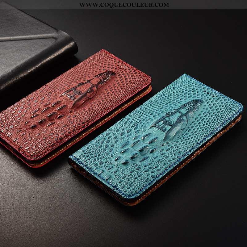 Étui Oppo Find X Cuir Véritable Téléphone Portable Bleu, Coque Oppo Find X Cuir Bleu