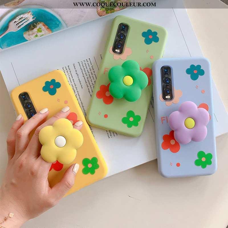 Housse Oppo Find X2 Pro Protection Silicone Peinture, Étui Oppo Find X2 Pro Personnalité Fleur Jaune