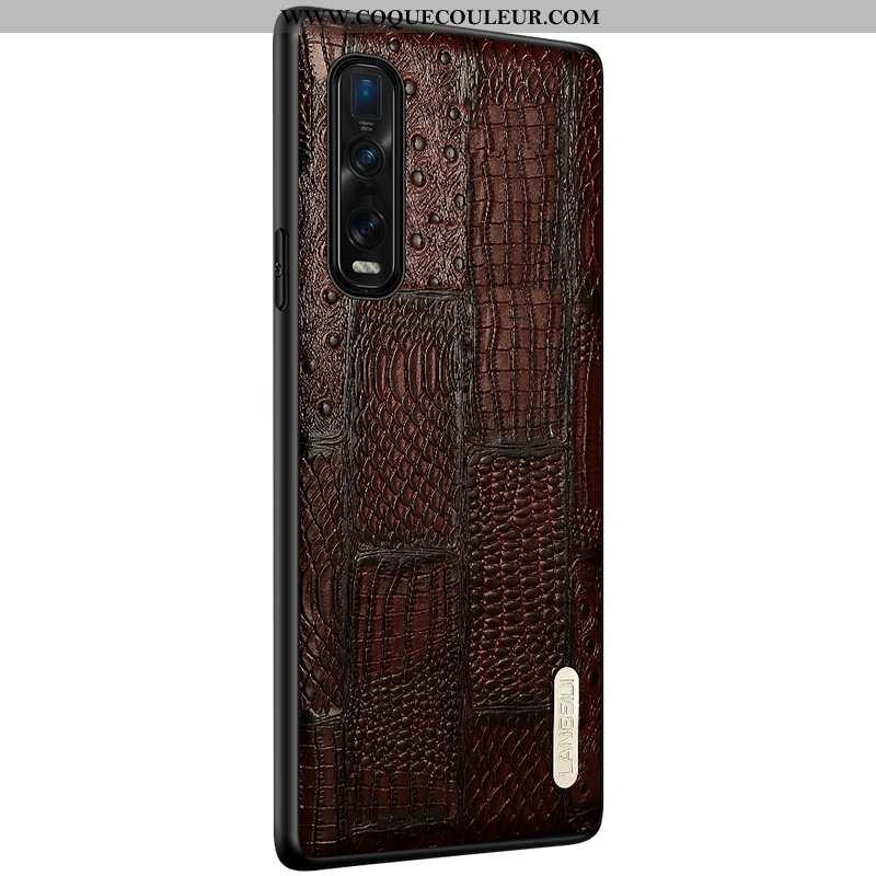 Coque Oppo Find X2 Pro Cuir Couvercle Arrière Téléphone Portable, Housse Oppo Find X2 Pro Modèle Fle