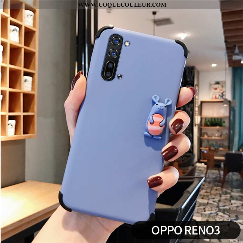 Housse Oppo Reno 3 Protection Coque Modèle Fleurie, Étui Oppo Reno 3 Personnalité Bleu