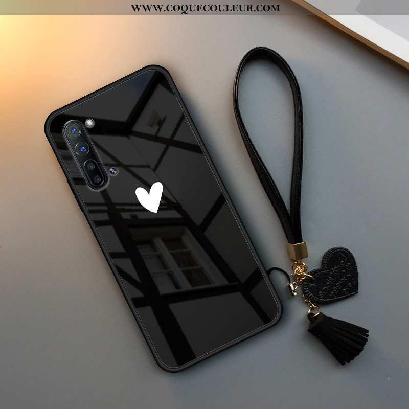 Coque Oppo Reno 3 Verre Simple Incassable, Housse Oppo Reno 3 Tendance Téléphone Portable Noir