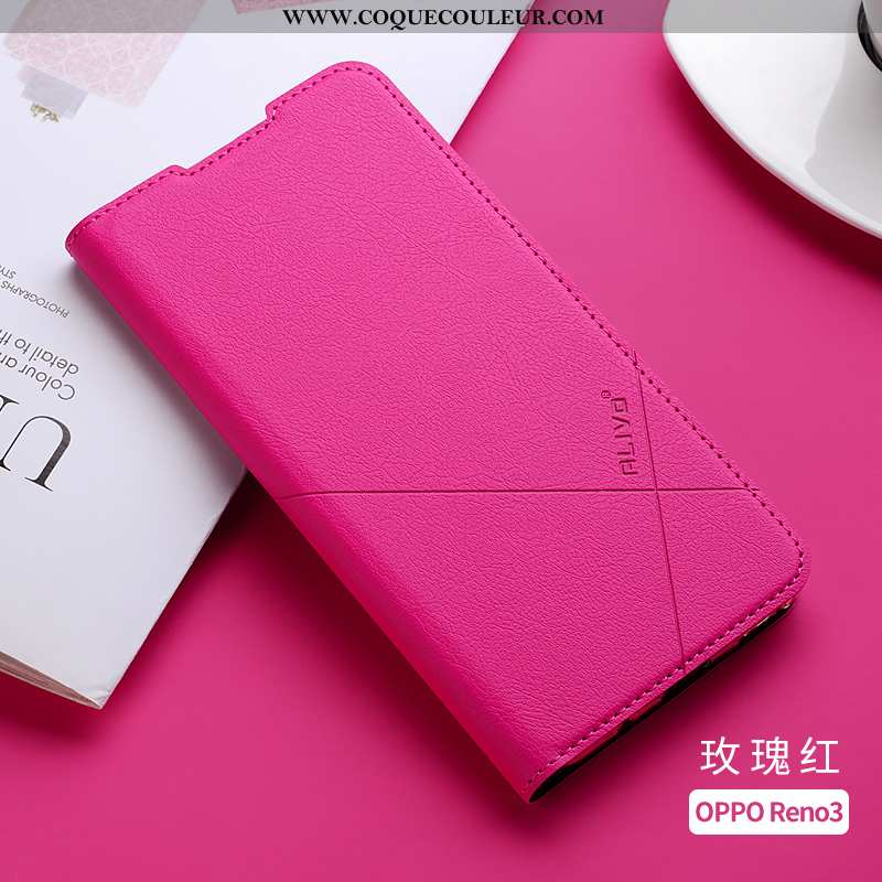 Housse Oppo Reno 3 Protection Silicone Clamshell, Étui Oppo Reno 3 Cuir Coque Rose