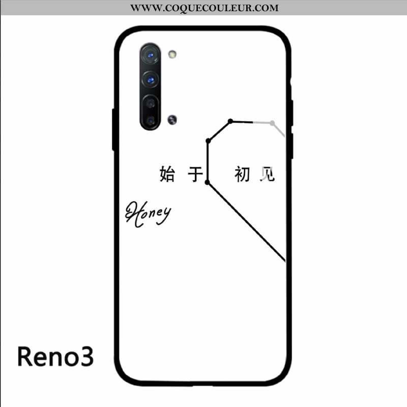 Étui Oppo Reno 3 Protection Art, Coque Oppo Reno 3 Verre Amoureux Blanche