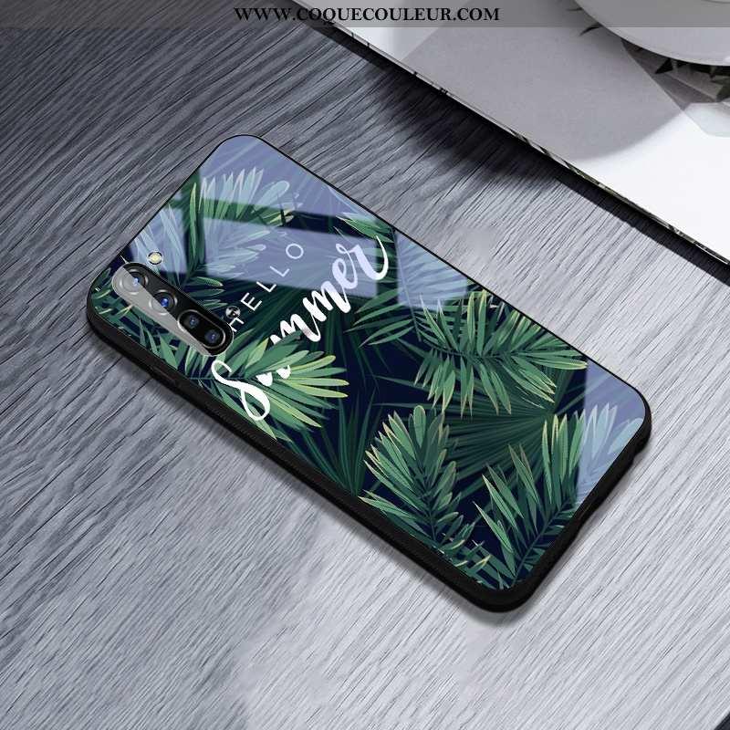 Housse Oppo Reno 3 Créatif Simple Téléphone Portable, Étui Oppo Reno 3 Silicone Coque Verte