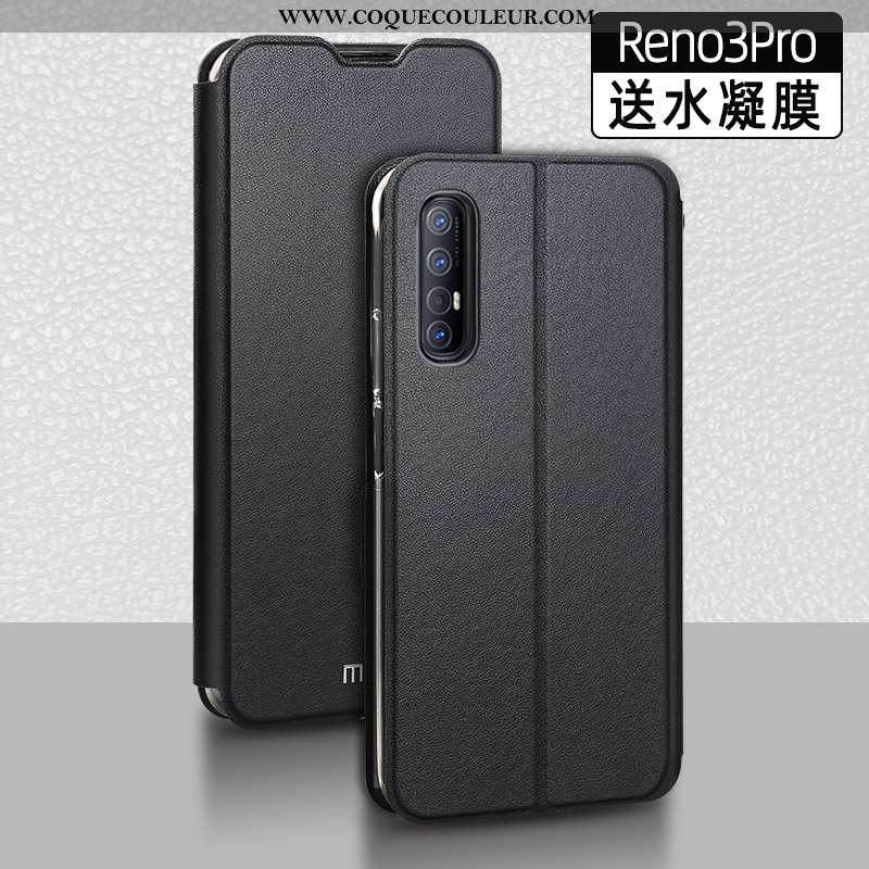 Coque Oppo Reno 3 Pro Protection Incassable Étui, Housse Oppo Reno 3 Pro Cuir Téléphone Portable Noi