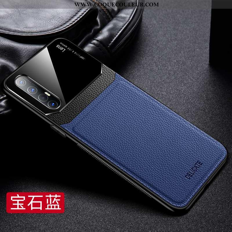 Coque Oppo Reno 3 Pro Tendance Incassable Miroir, Housse Oppo Reno 3 Pro Cuir Protection Bleu Foncé