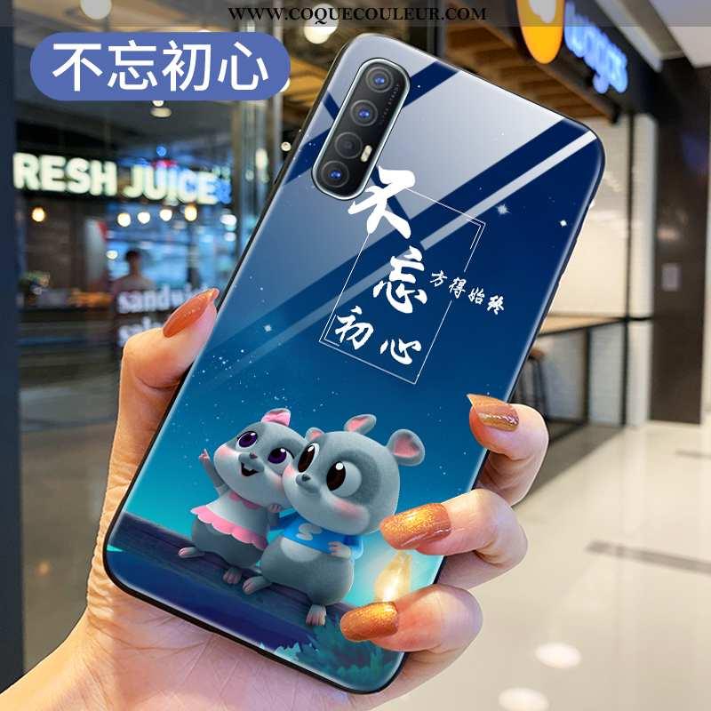Étui Oppo Reno 3 Pro Verre Rat Coque, Coque Oppo Reno 3 Pro Protection Téléphone Portable Bleu
