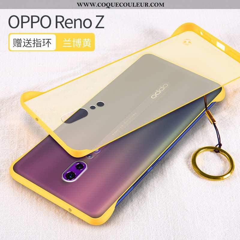 Housse Oppo Reno Z Protection Délavé En Daim Incassable, Étui Oppo Reno Z Transparent Net Rouge Jaun