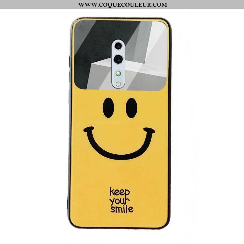 Coque Oppo Reno Z Protection Téléphone Portable Jaune, Housse Oppo Reno Z Verre Membrane Jaune