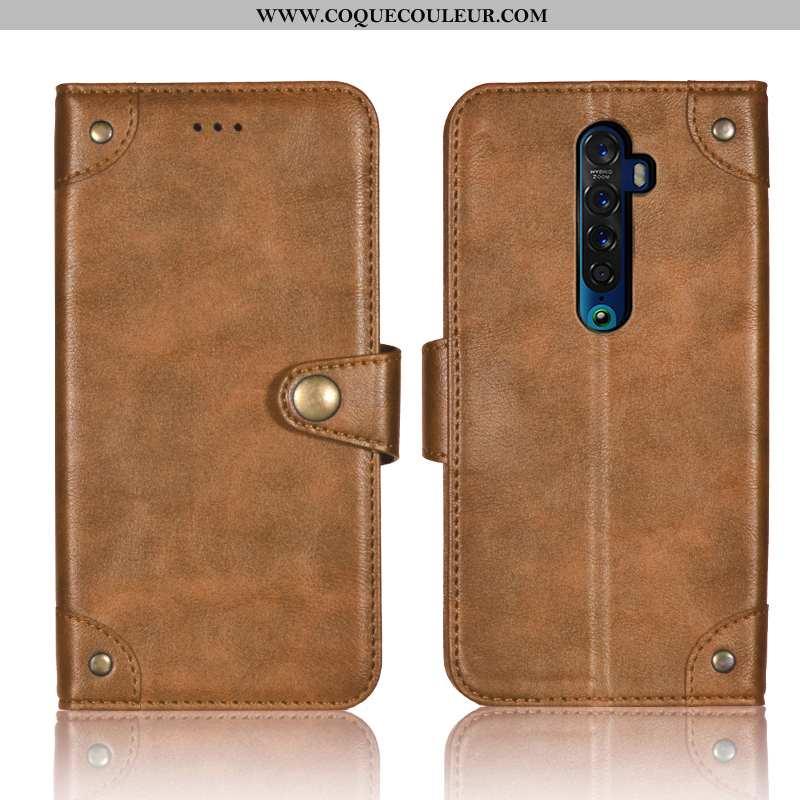 Étui Oppo Reno2 Cuir Portefeuille Téléphone Portable, Coque Oppo Reno2 Fluide Doux Kaki Khaki