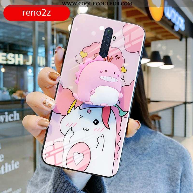 Coque Oppo Reno2 Z Personnalité Verre Téléphone Portable, Housse Oppo Reno2 Z Créatif Dragon Rose