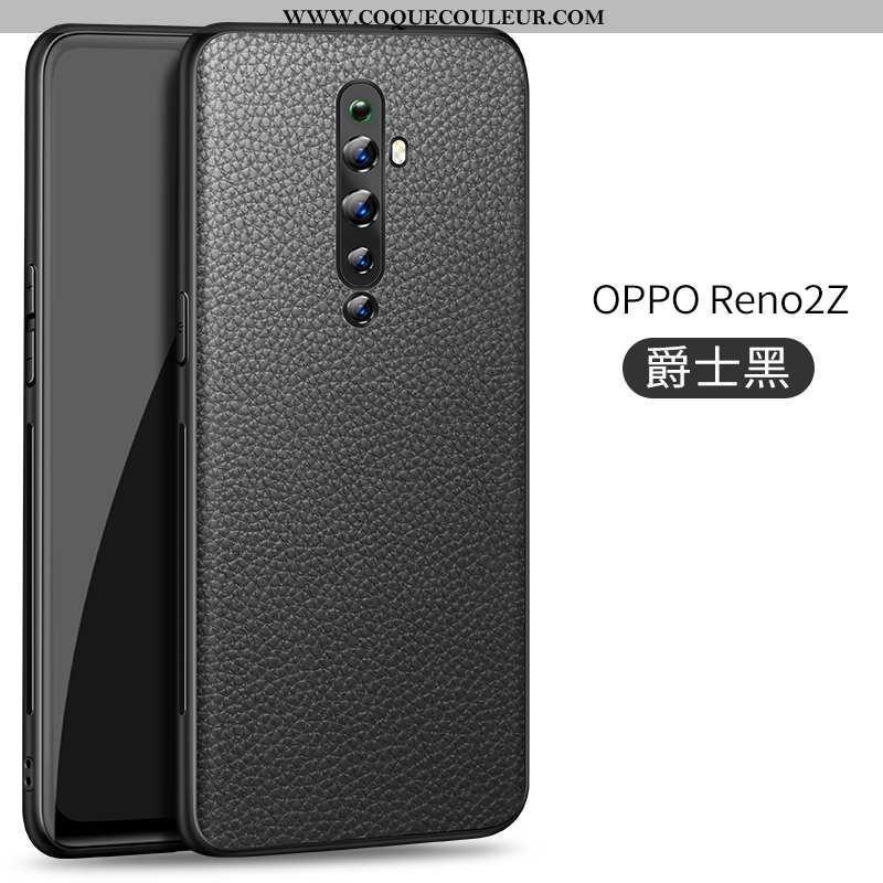 Étui Oppo Reno2 Z Modèle Fleurie Cuir Coque, Coque Oppo Reno2 Z Protection Litchi Noir