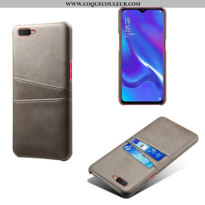 Coque Oppo Rx17 Neo Protection Gris Qualité, Housse Oppo Rx17 Neo Cuir Étui