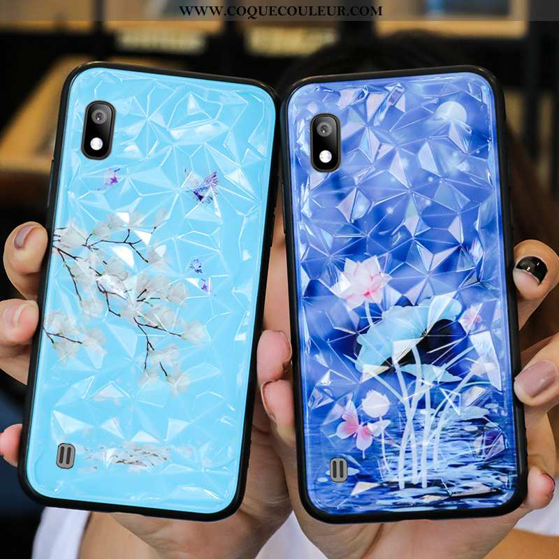 Housse Samsung Galaxy A10 Protection Étui Créatif, Samsung Galaxy A10 Verre Personnalité Bleu