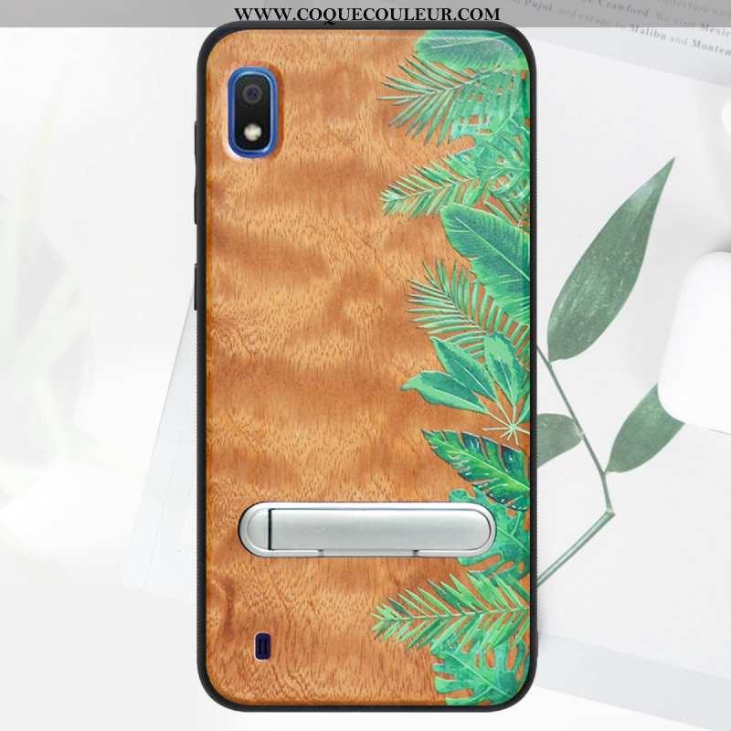 Étui Samsung Galaxy A10 En Bois Vert 2020, Coque Samsung Galaxy A10 Modèle Fleurie Support Verte