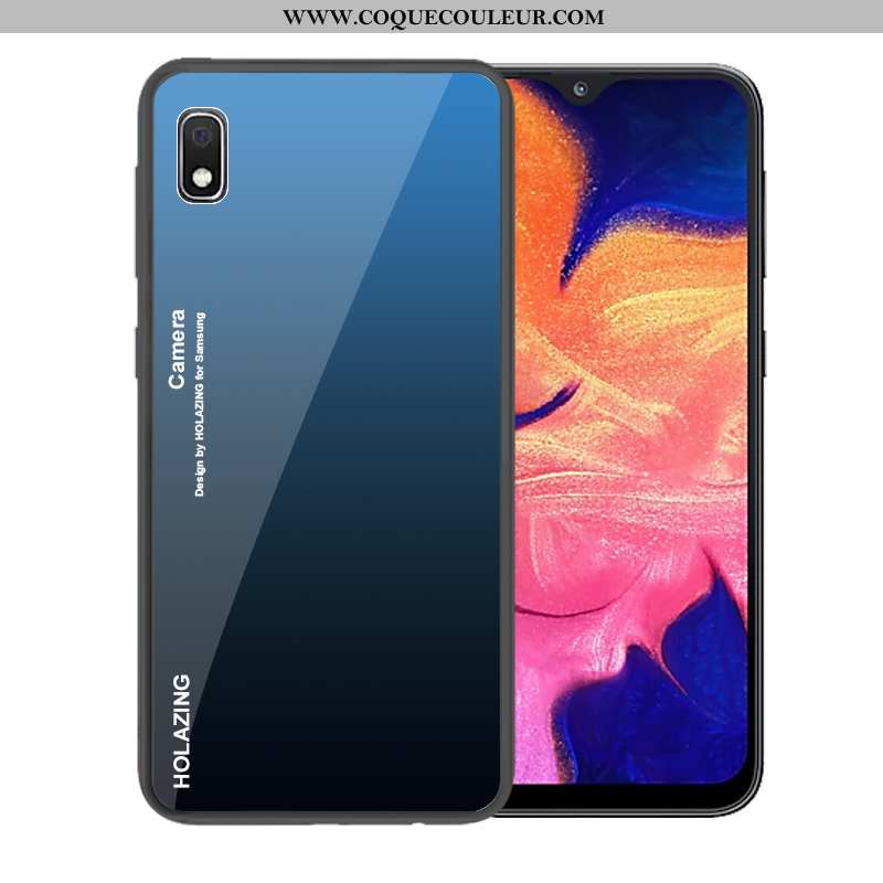 Étui Samsung Galaxy A10 Verre Coque, Coque Samsung Galaxy A10 Tendance Dégradé Bleu Foncé