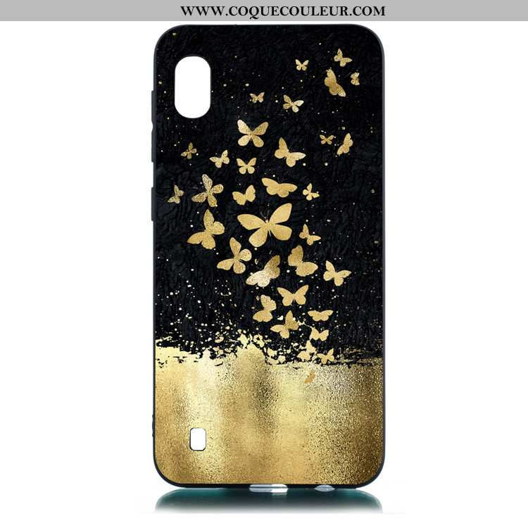 Étui Samsung Galaxy A10 Fluide Doux Étoile Noir, Coque Samsung Galaxy A10 Dessin Animé Noir