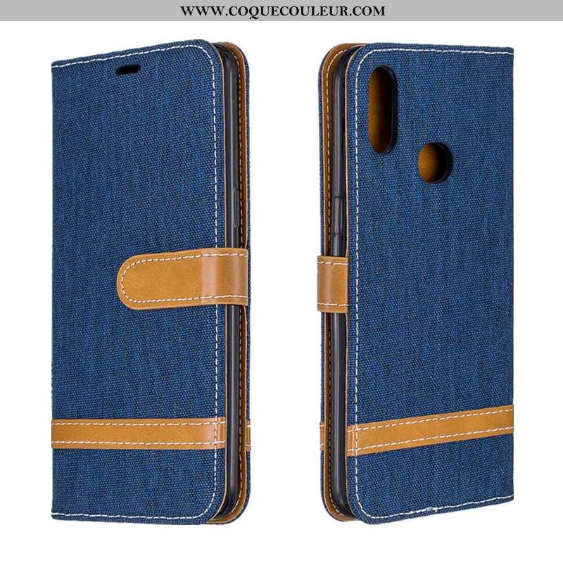 Housse Samsung Galaxy A10s Portefeuille Carte Étoile, Étui Samsung Galaxy A10s Tendance En Denim Ble