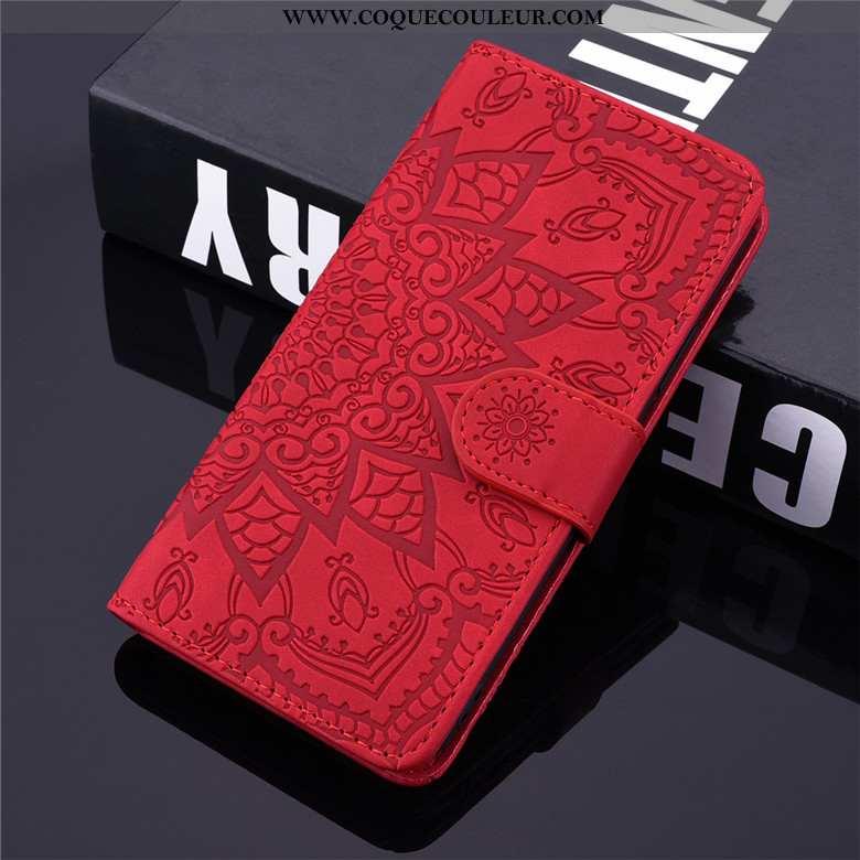 Housse Samsung Galaxy A10s Fluide Doux Étoile Cuir, Étui Samsung Galaxy A10s Protection Rouge