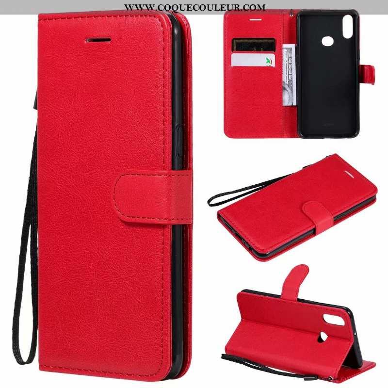 Étui Samsung Galaxy A10s Cuir Rouge Téléphone Portable, Coque Samsung Galaxy A10s Clamshell
