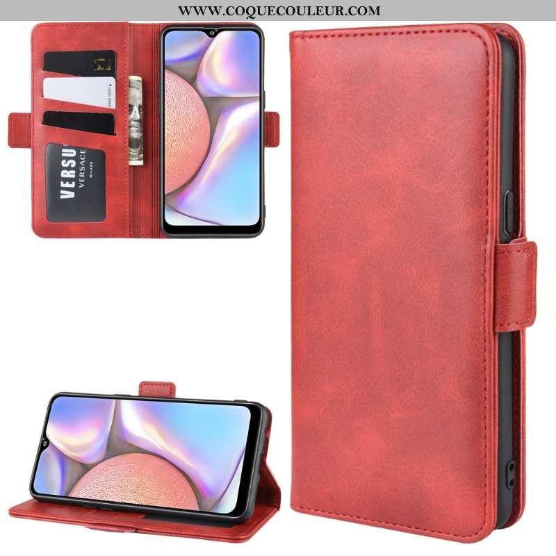 Étui Samsung Galaxy A10s Cuir Téléphone Portable Rouge, Coque Samsung Galaxy A10s Protection Rouge