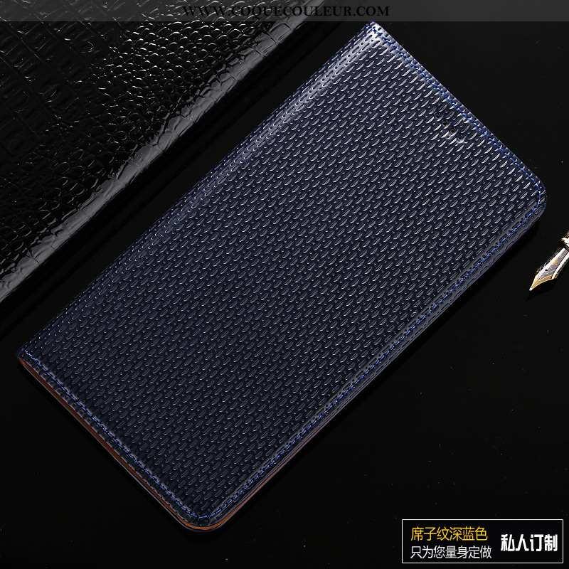 Coque Samsung Galaxy A10s Protection Bleu Marin, Housse Samsung Galaxy A10s Cuir Véritable Modèle Fl